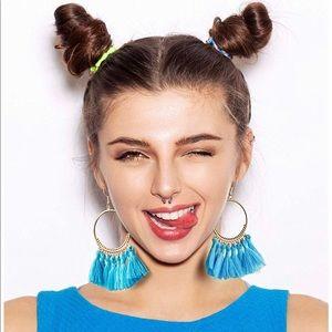 Bohemian Light Blue Fringe Tassel Hoop Earrings